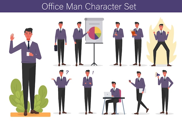 Carattere dell'uomo dell'ufficio con espressione e mano set