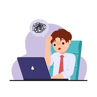 L'uomo dell'ufficio si sente stressato e turbato. risoluzione dei problemi. sfida al lavoro. clipart di office. illustrazione su bianco.