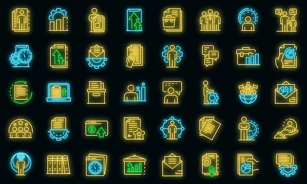 Set di icone del responsabile dell'ufficio. delineare l'insieme delle icone vettoriali del responsabile dell'ufficio colore neon su nero