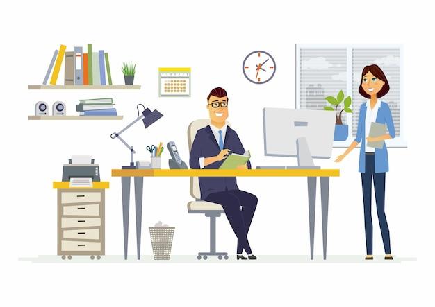 Office meeting - illustrazione vettoriale di una situazione aziendale. personaggi dei cartoni animati di giovani donne, colleghi maschi, partner che discutono di lavoro. manager, supervisore, segretario, conversazione subordinata