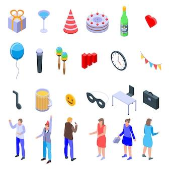 Set di icone di festa in ufficio, stile isometrico