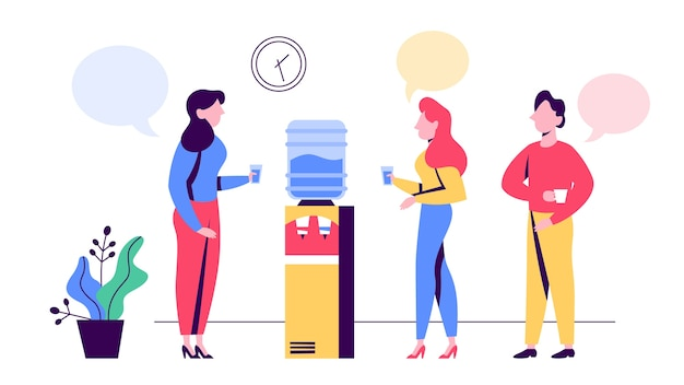 Ufficio persone in pausa in piedi presso il refrigeratore d'acqua