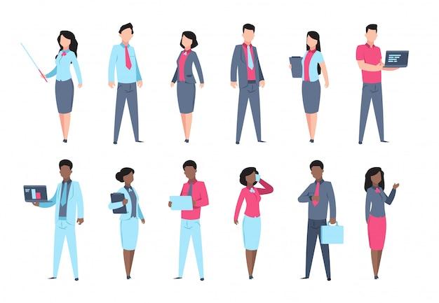 Set di persone in ufficio. persona professionale di affari degli impiegati della donna di segretario dei caratteri dell'uomo d'affari.