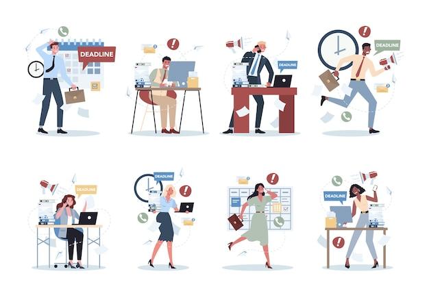 Persone d'ufficio con molto lavoro insieme. scadenza e concetto di stile di vita occupato. idea di tanti lavori e poco tempo. dipendente sottolineando in ufficio. problemi aziendali.