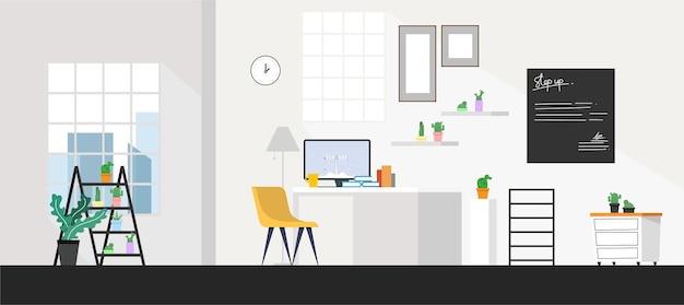 Interni di camere per uffici con illustrazione del computer aziendale