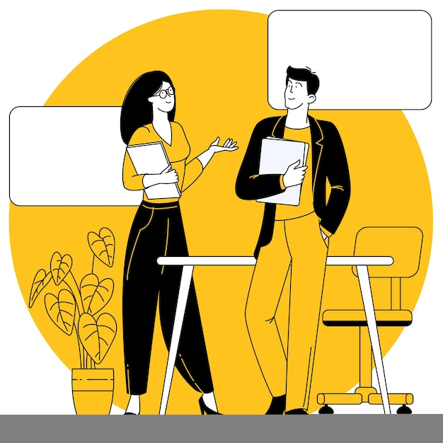 Scena dell'ufficio uomini e donne che partecipano a riunioni di lavoro
