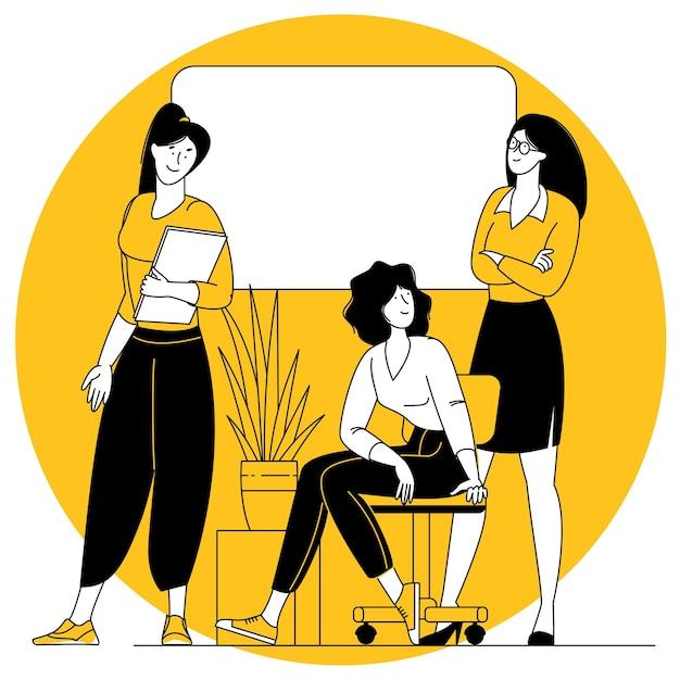 Scena dell'ufficio donne che partecipano a riunioni di lavoro