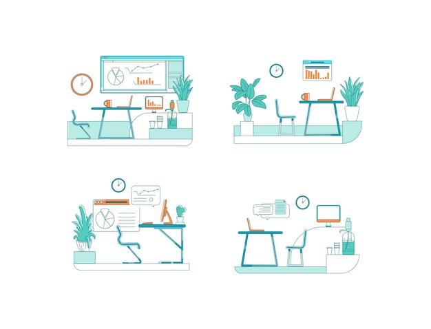 Set di scene di colore piatto di spazi per uffici