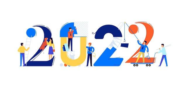 Il personale dell'ufficio si sta preparando per incontrare il nuovo anno 2022 i personaggi dei cartoni animati riparano i numeri l'immagine è isolata su sfondo bianco illustrazione piatta per banner e sito