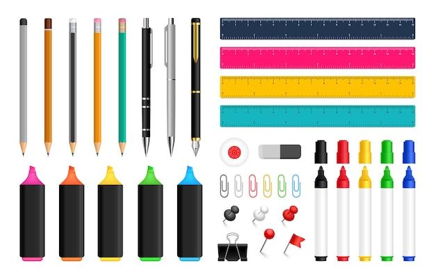 Cancelleria per ufficio per disegnare e scrivere penne matite e pennarelli colorati