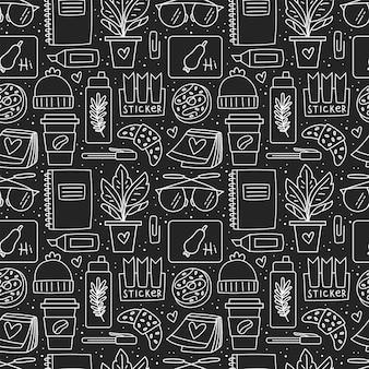 Cancelleria per ufficio. seamless pattern