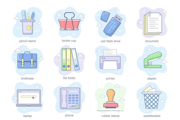 Set di icone piane di concetto di forniture per ufficio pacchetto di portamatite raccoglitore tazza cestino portadocumenti documento briefc...