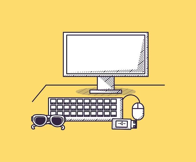 Forniture per ufficio design con computer con usb e occhiali da sole