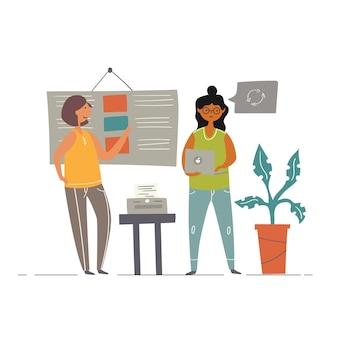 Lavoro di squadra in ufficio brainstorming di una scrittrice freelance