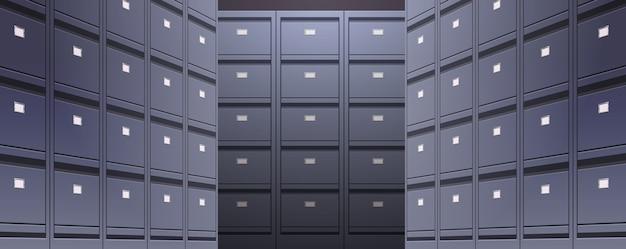 Parete dell'ufficio di schedario documento archivio dati cartelle di archiviazione per file illustrazione vettoriale orizzontale concetto di amministrazione aziendale