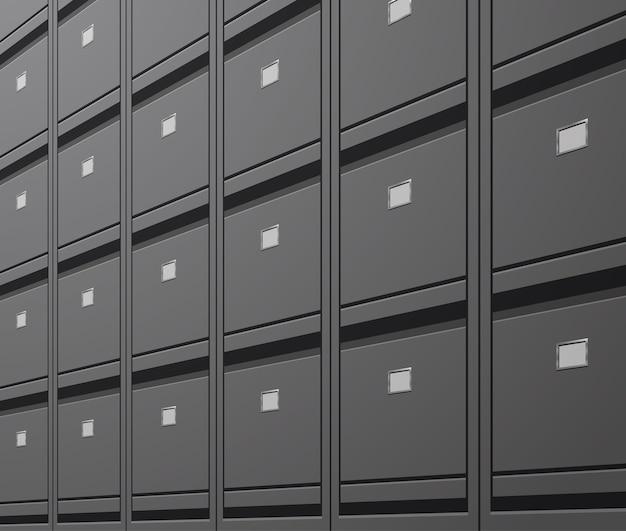 Parete dell'ufficio delle cartelle di archiviazione dell'archivio dei dati dei documenti dell'armadietto per l'illustrazione di vettore di concetto di amministrazione aziendale dei file