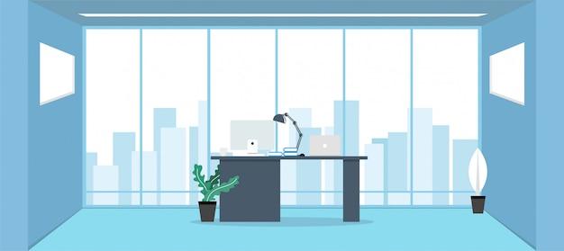 Ufficio con grandi finestre in stile piatto