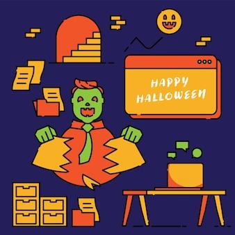 Celebrazione del waker dell'ufficio con documento cartaceo distruggi in felice halloween