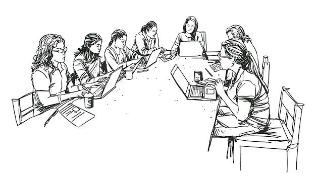 Donne dell'ufficio nel materiale illustrativo della linea di riunione del gruppo