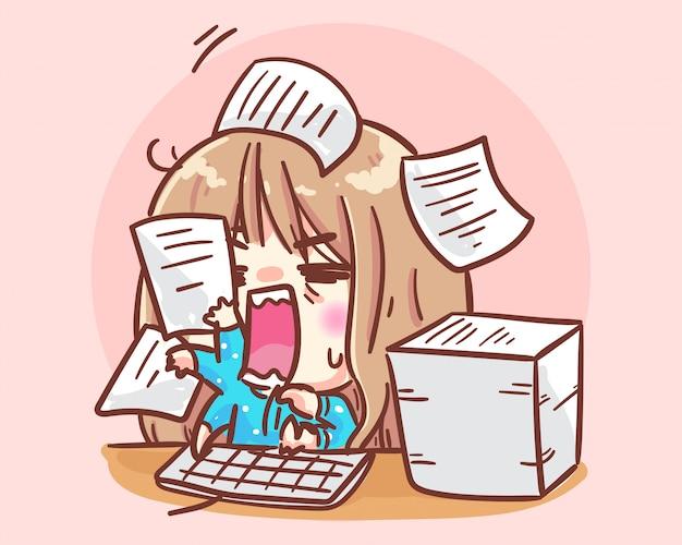 Office donne che lavorano occupate. illustrazione sveglia di arte del fumetto della ragazza dell'ufficio