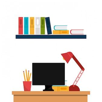 Progettazione dell'icona isolata posto di lavoro dell'ufficio
