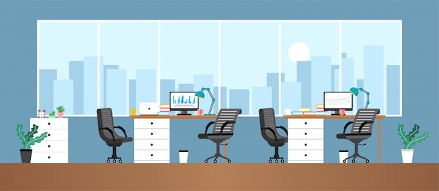 Stanza di lavoro in ufficio per dipendenti o contatti che lavorano in imprese educative