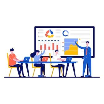 Lavoro d'ufficio con il processo del flusso di lavoro aziendale e riunione del team di lavoro e lavoro insieme alla grande scrivania utilizzando laptop in design piatto