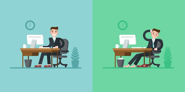 Routine quotidiana di impiegato. uomo d'affari in tuta seduto alla scrivania e lavorando al computer