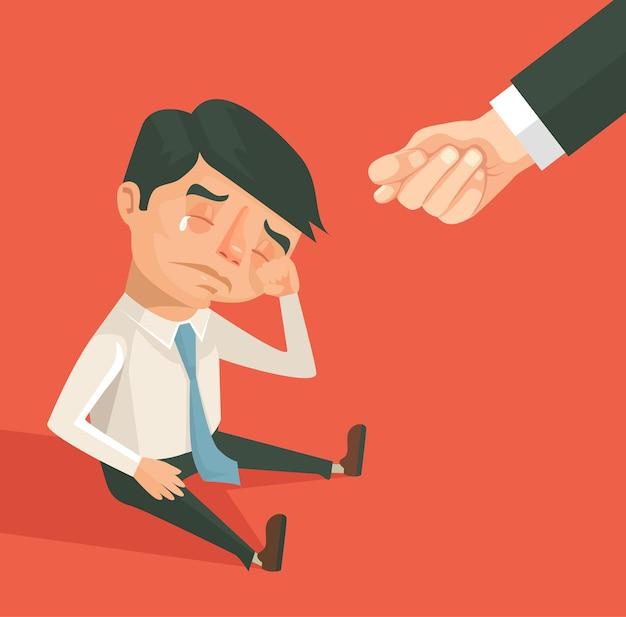 Carattere dell'uomo di lavoratore di ufficio e mano segno di fico illustrazione di cartone animato piatto vettoriale