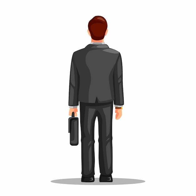 Figura diritta di lavoro di professione dell'uomo di impiegato dalla vista posteriore.