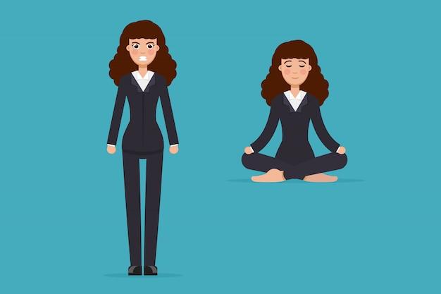 Impiegato meditando, seduto nella posa del loto. calma e arrabbiata. concetto di meditazione donna d'affari. illustrazione.