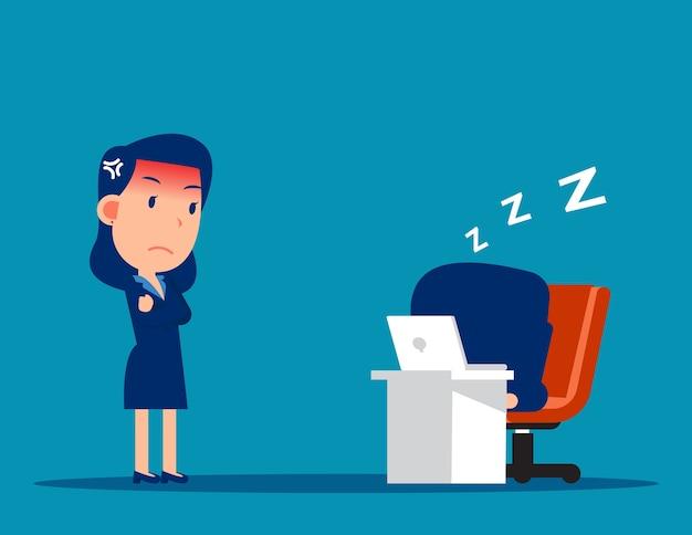 Impiegato rilassante alla scrivania durante il lavoro e capo arrabbiato