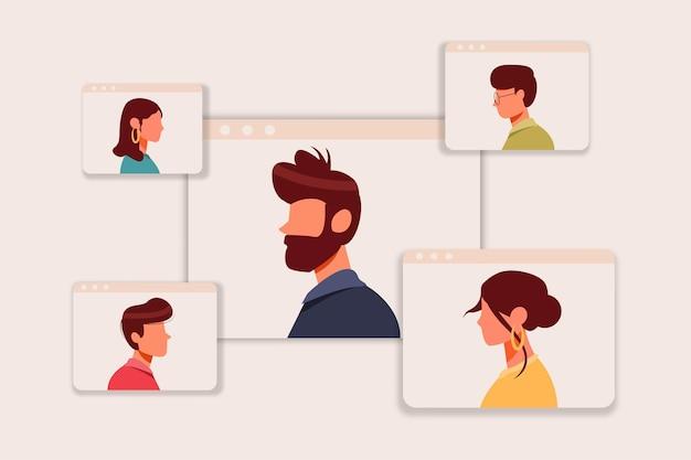 Concetto di riunione virtuale di impiegato