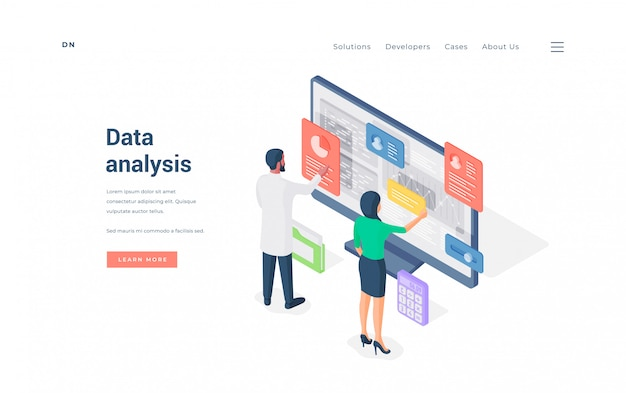 Impiegati di concetto che analizzano i dati sull'illustrazione del computer.