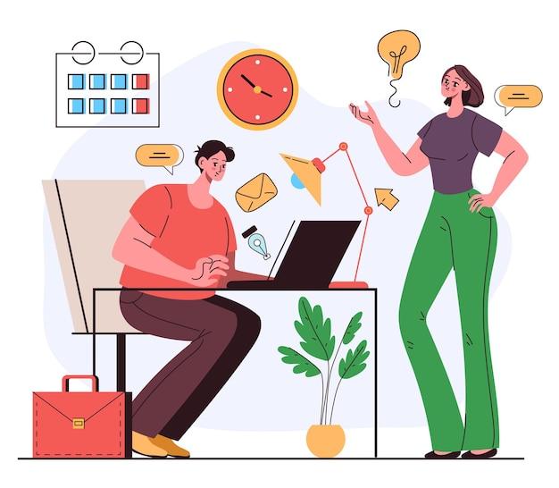 Ufficio lavoratori uomo donna collega personaggi che lavorano insieme e discutono di nuovo progetto e buona idea concetto di business plan di lavoro di squadra illustrazione grafica di vettore piatto cartone animato