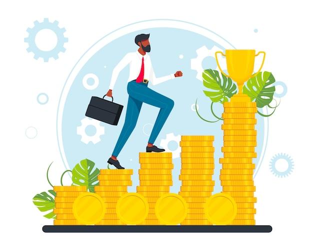 Impiegati, manager, uomini d'affari di successo che salgono le scale di carriera del denaro. raggiungimento degli obiettivi aziendali, avanzamento e avanzamento della carriera, crescita della carriera, aumento dello stipendio. vettore.