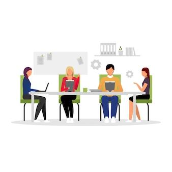 Impiegati che incontrano l'illustrazione piana di vettore. conferenza d'affari, seminario, formazione aziendale. team di manager che lavorano personaggi dei cartoni animati isolati. dipendenti, dirigenti, consiglio di amministrazione