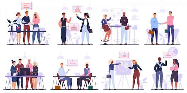 Team di impiegati. riunione d'affari, brainstorming e conferenza aziendale, insieme dell'illustrazione del gruppo dei caratteri del gruppo di affari. riunione e conferenza di lavoro di squadra, negoziazione e accordo