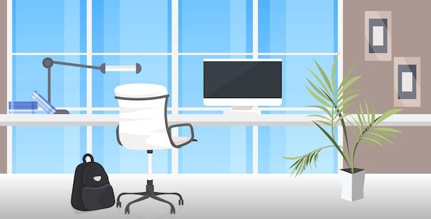 Ufficio posto di lavoro scrivania distanziamento sociale protezione epidemica coronavirus concetto di autoisolamento interno del gabinetto moderno orizzontale