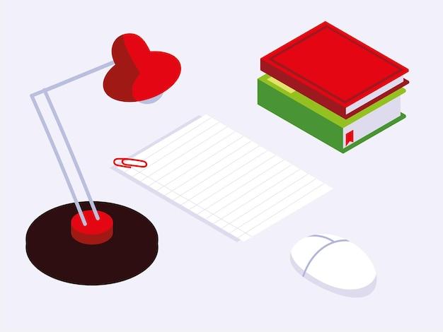 Lampada di libri di carta dell'area di lavoro di ufficio e illustrazione del dispositivo del mouse