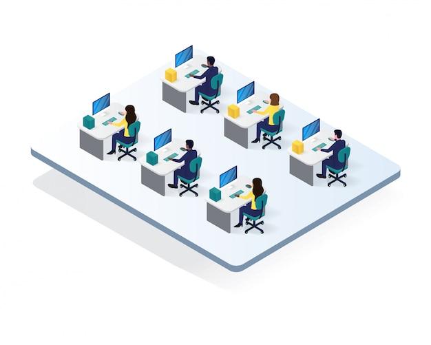 Illustrazione isometrica della stanza dell'area di lavoro dell'ufficio