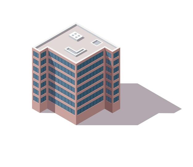 Uffici isometrici. facciata della costruzione di architettura del centro commerciale. elemento infografico. illustrazione 3d di vettore architettonico.