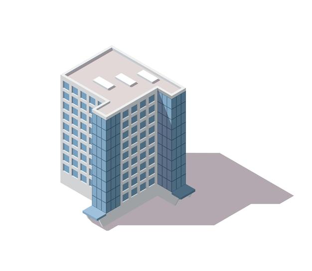 Uffici isometrici. facciata di edificio di architettura del centro commerciale.