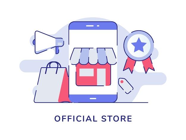 Negozio ufficiale concept store sul display dello schermo dello smartphone certificato del megafono della borsa della spesa