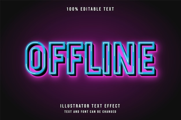 Offline, effetto di testo modificabile 3d effetto blu sfumato rosa effetto neon