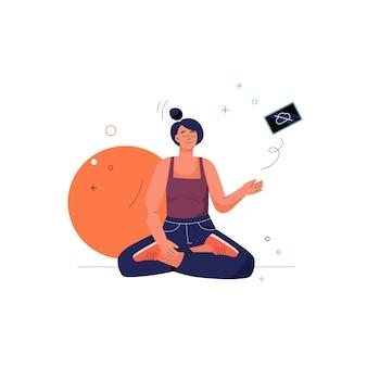 La donna di meditazione di concetto non in linea si siede nella posizione di asana del loto