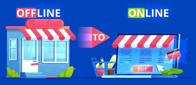 Un offline a online. un banner di definizione del commercio. il negozio sul sito e il negozio nella vita reale. coinvolgere gli utenti seo. illustrazione piatta.