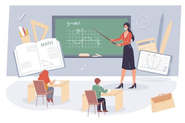 Concetto di formazione online offline con vari materiali scolastici Vettore Premium