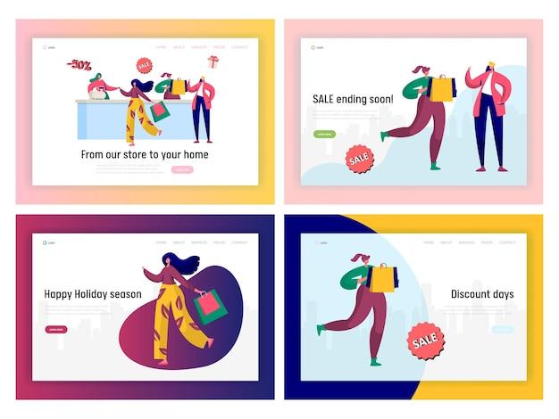 Set di pagine di destinazione della promozione della vendita dello shopping offline. Vettore Premium