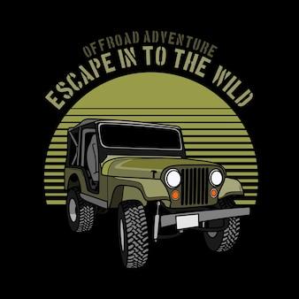 Illustrazione grafica di auto avventura fuoristrada